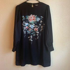 ASOS Fashion Union Black Long Sleeve Dress Floral